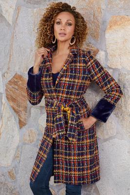 plaid faux-fur cuff coat
