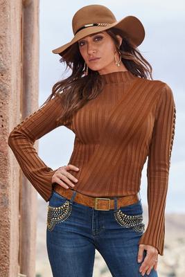Ribbed Mock Neck Lace-Up Sleeve Sweater