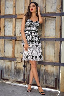 Beaded sleeveless tiered dress