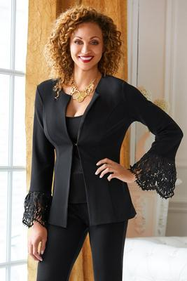 beyond travel™ lace flare-sleeve jacket
