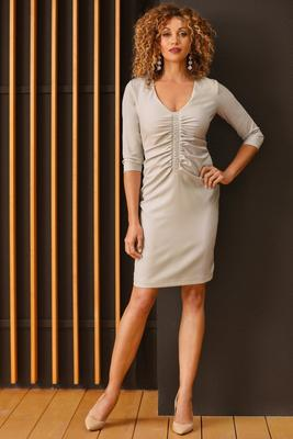 Three-Quarter Sleeve Ruched V-Neck Dress