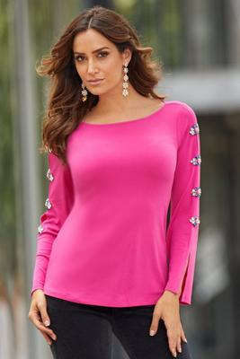 Embellished Detail Flare-Sleeve Top