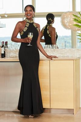 Embellished High-Neck Gown