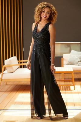 Illusion V-Neck Beaded Jumpsuit