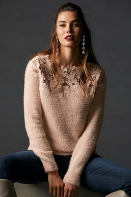 Lace Plush Long-Sleeve Sweater
