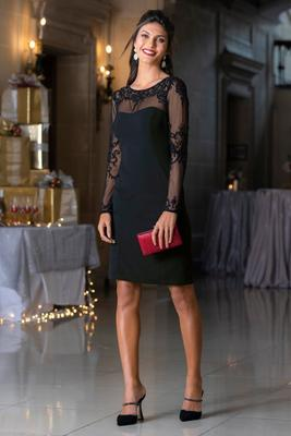 Long-Sleeve Sequin Illusion Sheath Dress