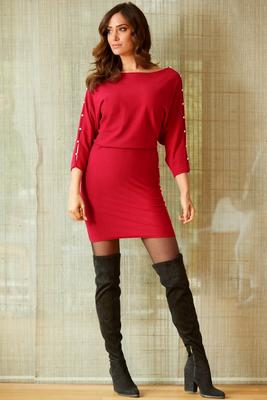 Pearl Trim Sleeve Sweater Dress