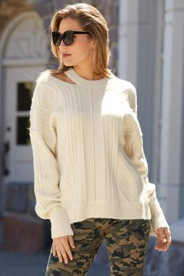 Cutout Neckline Cable Sweater