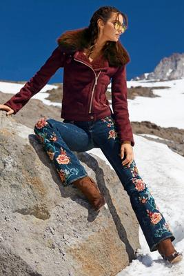 Embroidered Floral Flare Jean