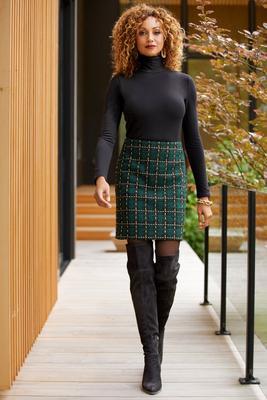 Plaid Above-the-Knee Skirt