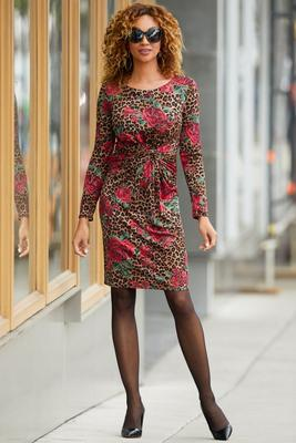 Ruched Animal and Rose Print Dress