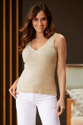 Display product reviews for Rhinestone Embellished Sweater Tank