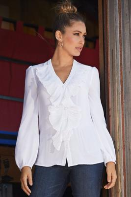 Display product reviews for Sheer Ruffle Blouse