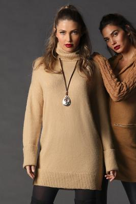 Turtleneck Long-Sleeve Sweater Dress