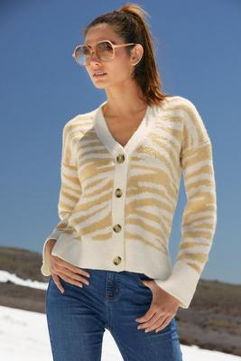 Display product reviews for Zebra Button-Down Cardigan