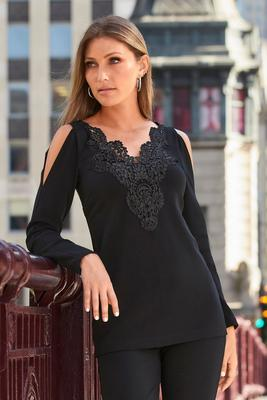 Beyond Travel™ Cold-Shoulder Lace-Inset Top