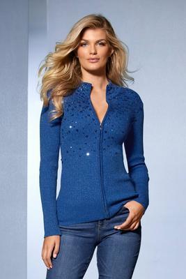 sequin embellished zip cardigan