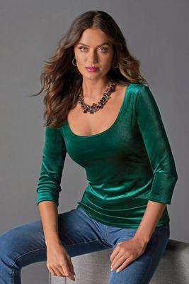 Velvet Scoop-Neck Top