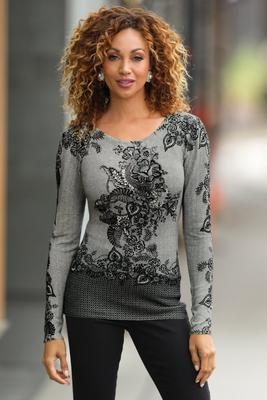 Lace Print Long-Sleeve Sweater