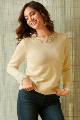 Pearl Trim Detail Sweater