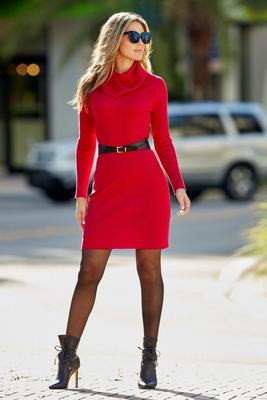 Display product reviews for Cowl Neck Belted Sweater Dress
