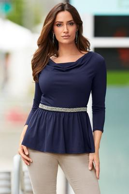 Display product reviews for Cowl-Neck Embellished Waist Peplum Top