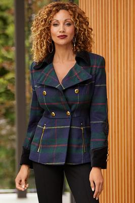 Plaid Peplum Soutache Jacket