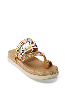 platform multi beaded sandal