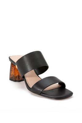 Double-Strap Tortoise Block Heel