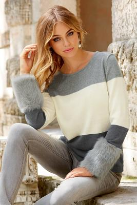 Color Block Faux-Fur Cuff Sweater