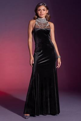 Embellished Neck Velvet Gown