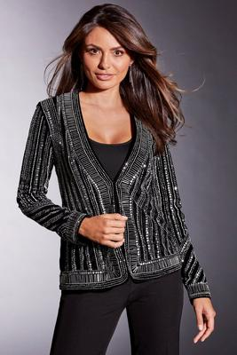 Embellished Stripe Velvet Jacket