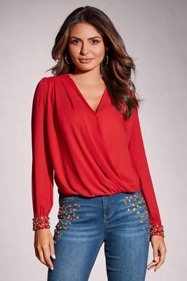 embellished cuff surplice blouse