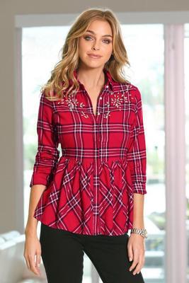Embellished Plaid Peplum Shirt