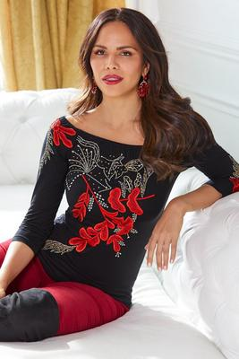 Floral Embroidered Boatneck Top