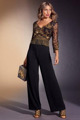 Gold Fringe Embellished Jumpsuit