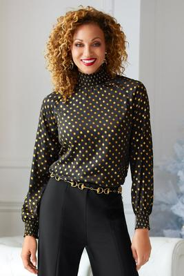 high-neck dot blouse
