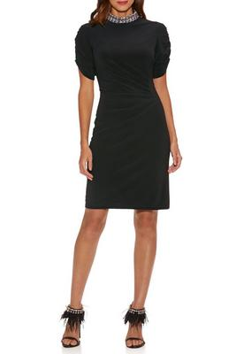 Jewel-Neck Ruched-Sleeve Dress