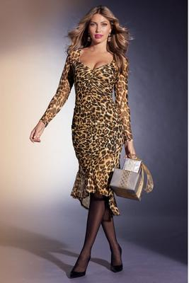 Long-Sleeve Mesh Animal-Print Dress