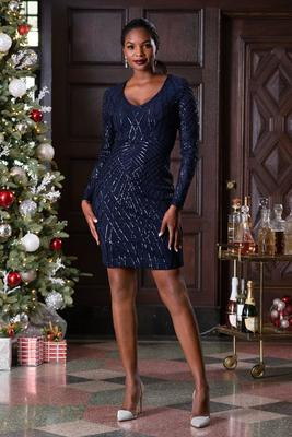 Long-Sleeve V-Neck Sequin Dress