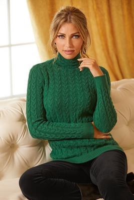 Mini Cable Funnel-Neck Sweater