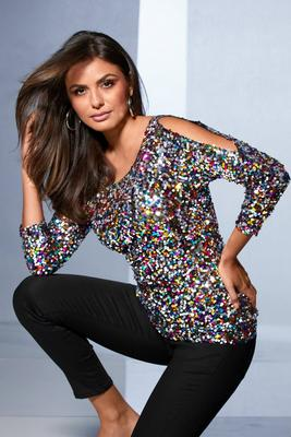 Display product reviews for Multicolor Sequin Cold-Shoulder Top