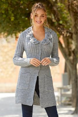 Rosette Detail Long Cardigan Sweater