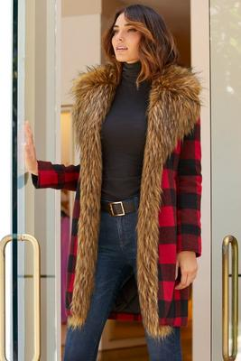 Plaid Faux-Fur Coat