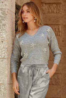 Snowflake Embellished V-Neck Sweater