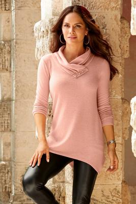So Soft Button Detail Cowl Tunic Top
