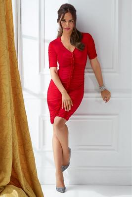 Ruched Elbow-Sleeve Dress