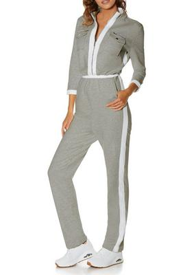 Three-Quarter Sleeve Chic-Zip Jumpsuit