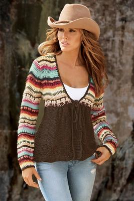 Crochet Tie Cardigan Sweater