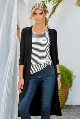 one-piece knit stripe duster combo